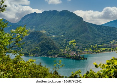a view of lake of Annecy with Duingt village, french Alps