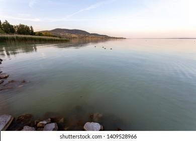 View of the lake Balaton from Badacsonytomaj on a summer evening.