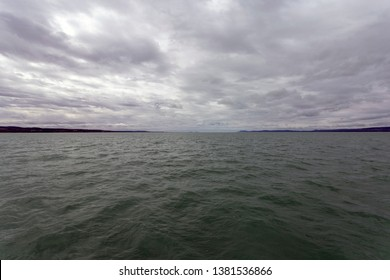 The view of Lake Balaton from a ferry.