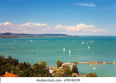 View of Lake Balaton with lots of sailboats from Tihany village in Hungary