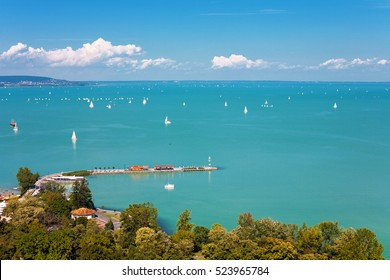View of Lake Balaton with sailboats from Tihany village in Hungary