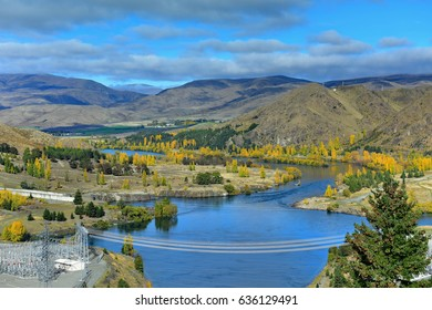 View of Lake Benmore from the top of the dam that powers the hydroelectric power station, in Canterbury, New Zealand
