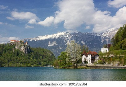 View of Lake Bled, Slovenia, in springtime, with the castle on the promontory
