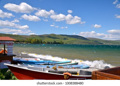 View of Lake of bracciano. The lake is a volcanic origin crater lake and the second largest lake in Lazio Italy.
