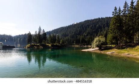 View of the Lake Cauma near Flims in Switzerland