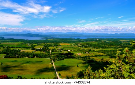 View of Lake Champlain and Adirondacks from Mt. Phillo in Charlotte, Vt