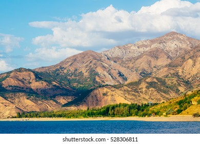 The view of Lake Charvak or reservoir with mountains in the background, Tashkent province, Uzbekistan