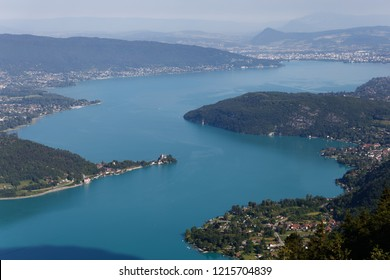 View of the lake and distant Annecy Lake Annecy France