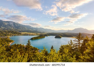 View of lake Faaker See in Carinthia, Austria