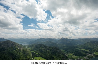 view at lake fuschl and lake wolfgangsee in salzburg in austria from mt. schober