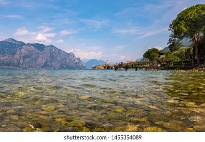 View of Lake Garda at Malcesine in Italy.
