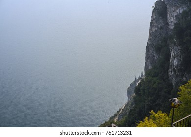 View to Lake Garda from the top of Pieve Tremosine in Italy