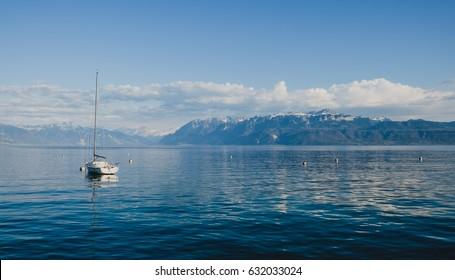 View of Lake Geneva , Lausanne, Switzerland