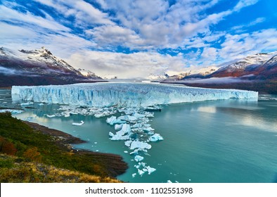 A view of the lake and glacier Perito Moreno national park Los Glaciares. The Argentine Patagonia in Autumn.