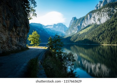 View of Lake Gosau in the picturesque Salzkammergut in Upper Austria, Austria. Idyllic mountain landscapes, scenic forests and a wonderful lighting atmosphere.