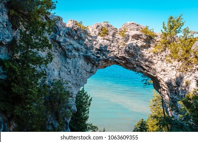 View of Lake Huron through Arch Rock on Mackinac Island Michigan