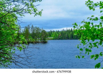 View of Lake Hyypionjarvi in Lapland, Finland