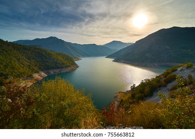 A view of lake Kozjak in Macedonia. Autumn scene.