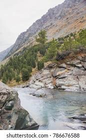 View of the lake Kuiguk. Altai Mountains. Autumn landscape