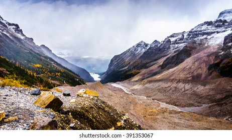 View of Lake Louise from the lateral moraine at the Plain of Six Glaciers at an elevation of 2150 meters or 7000 feet in Banff National Park in the Canadian Rocky Mountains
