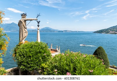 View of Lake Maggiore from island Bella, is one of the Borromean Islands in Piedmont of north Italy