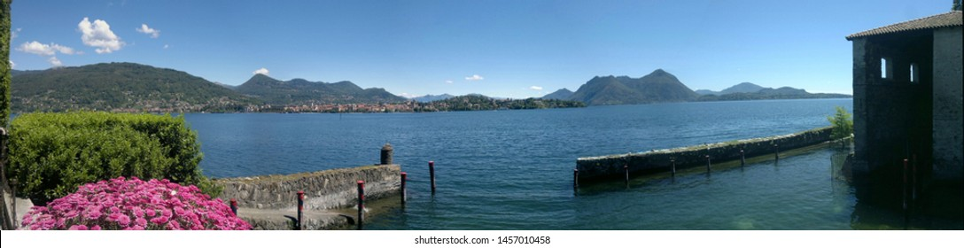 View of lake Maggiore from Isola Madre. Lake Maggiore. Island Madre. Piedmont. Lombardy. Italy. Foto for bookmark.