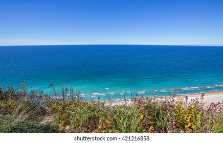 View of Lake Michigan from atop the dunes at overlook #9 on the Pierce Stocking Scenic Drive at Sleeping Bear Dunes National Lakeshore