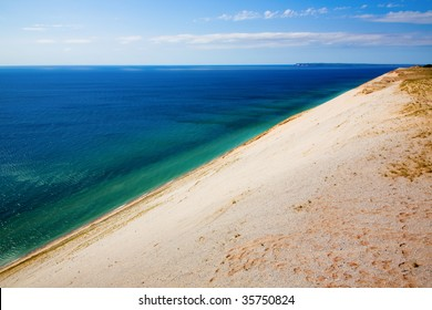 View of Lake Michigan from dunes