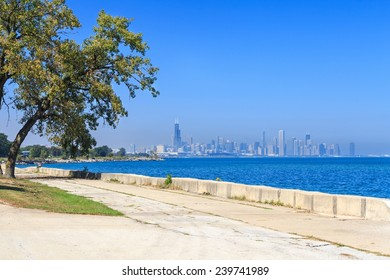 View of the Lake Michigan promenade in Hyde Park with the downtown Chicago skyline in the distance.