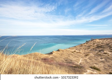 View of Lake Michigan from Pyramid Point in Sleeping Bear Dunes National Lakeshore in northern Michigan