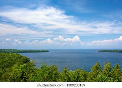 View of Lake Michigan from Scenic Overlook in Door County, Wisconsin