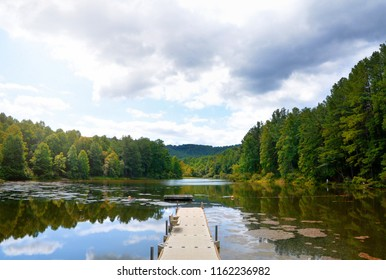 View of a lake in mid-summer in the Blue Ridge Mountain area of Virginia