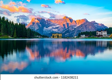 View of lake Misurina at Cortina d'Ampezzo in the morning in Italy with the Punta Sorapis mountain of Dolomites in the background