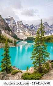 View at the Lake Moraine in Canadian Rocky Mountains near Banff