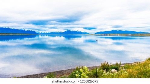 View of the lake and mountain landscape, Puerto Natales, Chile. Copy space for text