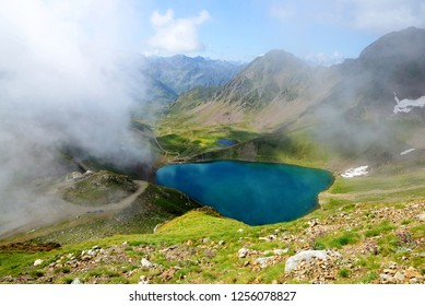 View of lake Oncet in the Pyrenees mountains, France.