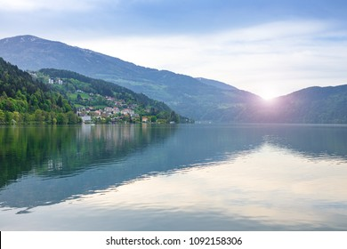 View of Lake Ossiacher See, lake in carinthia, south of Austria