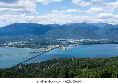 View of Lake Pend Oreille and the town of Sandpoint, Idaho, from the top of the mountain