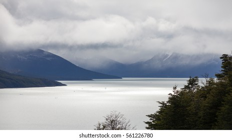 View of the lake in Perito Moreno Glacier National Park in cloudy day.