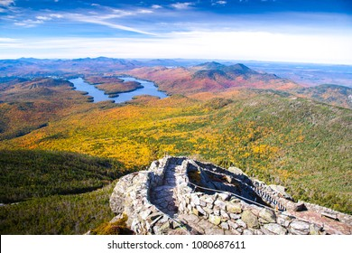 A view of Lake Placid on a sunny autumn day as seen by looking south west from the summit of Whiteface Mountain in Adirondack National Park, Upper New York