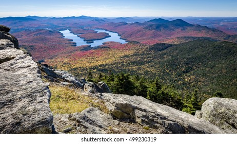 A view of Lake Placid on a sunny autumn day as seen by looking south west from the summit of Whiteface Mountain in the Adirondacks, Wilmington, New York