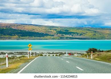 View of Lake Pukaki on the road, South Island, New Zealand