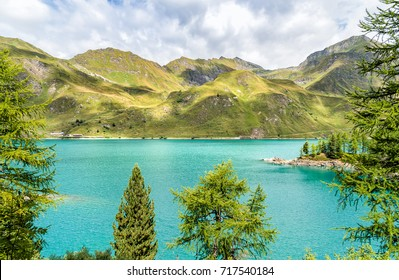 View of lake Ritom with the Alps in background, Piora, Canton Ticino of Switzerland.