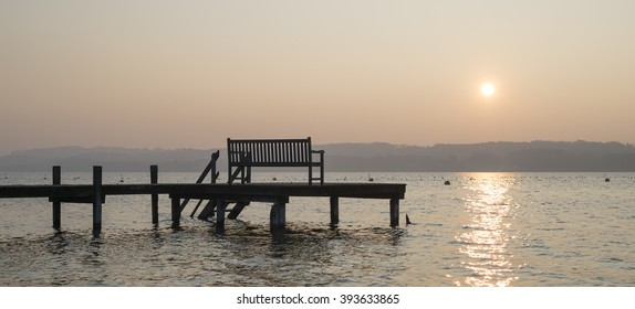 "View at the lake ""Starnberger See"" near Munich in Bavaria during sunset"