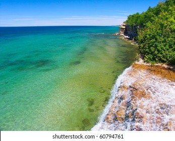 View of Lake Superior from the top of Spray Falls - Pictured Rocks National Lakeshore, Michigan