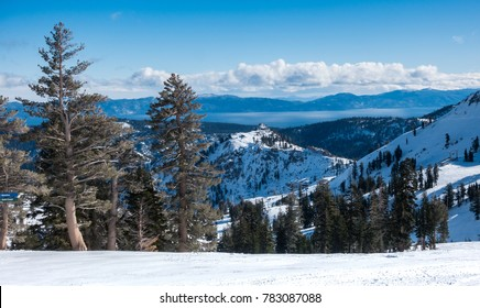 View of Lake Tahoe from the top of the ski resort at Squaw Valley, in the Sierra Nevada Mountains of California, between Truckee and Tahoe City and not far from South Lake Tahoe and Stateline, Nevada.