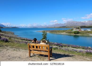 View of Lake Tekapo, South Island, New Zealand. Landscape of New Zealand
