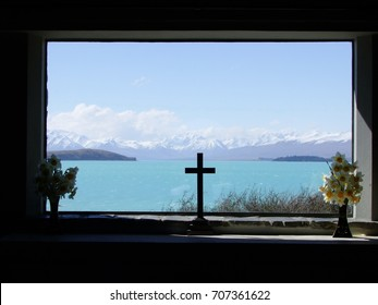 A view of Lake Tekapo from a window of the church, New Zealand