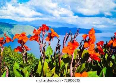 A view of Lake Toba from Samosir island North Sumatra, Indonesia