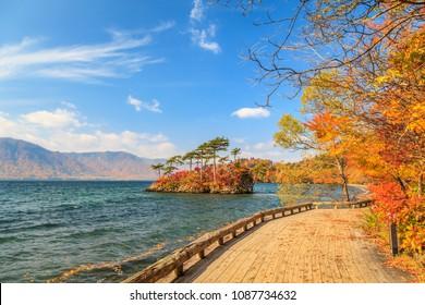 View of Lake Towada in autumn season, Towada Hachimantai National Park, Aomori, Japan